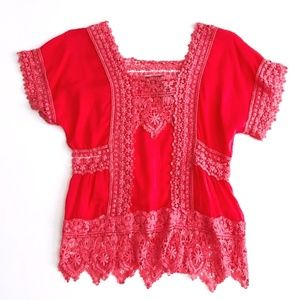 Johnny Was Lace Boho Pink Peach Summer Top